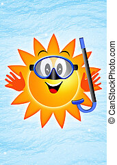 太陽, 由于, 潛水面具, 以及, 水下通气管