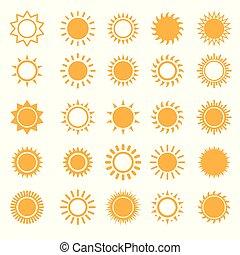 太陽, 白, セット, 隔離された, アイコン