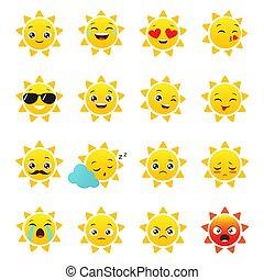 太陽, 白, ベクトル, emojis, 背景