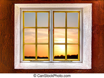 太陽, 窓, 設定, によって, 光景