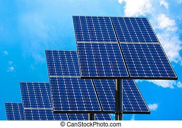 太陽, 綠色, 技術, panels.