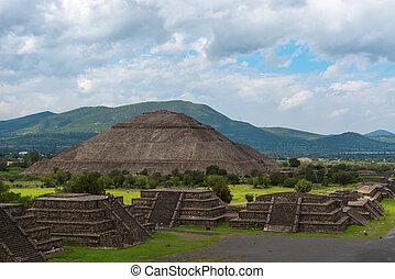 太陽, 見られた, 月, ピラミッド, メキシコ\