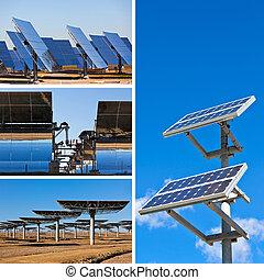 太陽, 面板, 上, 明亮的藍色, 天空, 背景。, 可更新的能量