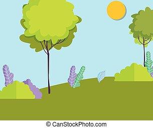 太陽, 風景, 木, 自然, 空, ブッシュ, 牧草地