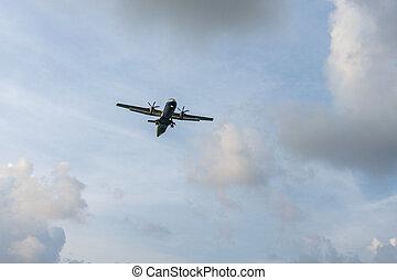 太陽, 飛行機, 飛行, 雲, 空