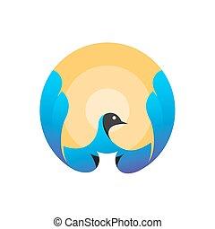 太陽, 飛行, -, 鳥, ロゴ