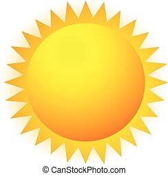 太陽, clip-art, 隔離された, ベクトル, glow., 透明