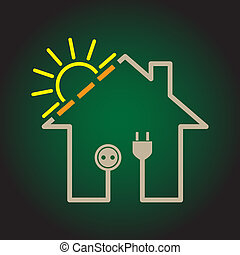太陽, eco, 家, -, イラスト, 単純である, 回路, 電気