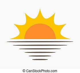 太陽, icon., 海