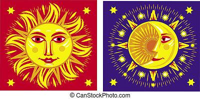 太陽, moon., ベクトル, イラスト