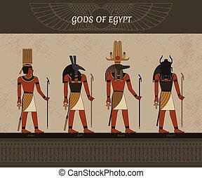 太陽, thoth, sobek, シンボル, シンボル, エジプト, anhur, エジプト人, 神, ベクトル, 古代, イラスト, egyptian., 飛ぶ, khepri, 他