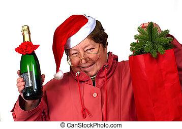 夫人, 藏品, 香檳酒, spectacles;, 穿著, 禮物, 婦女, 克勞斯, 眼鏡, 瓶子, 大袋, 聖誕節, 紅色, 聖誕老人, 向上, 服裝