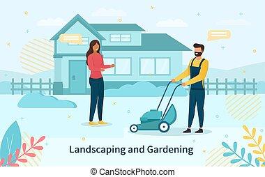 夫妇, 园艺, 年轻, 地形