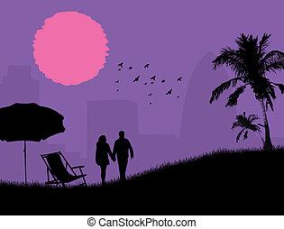 夫妇, 在中, a, 公园