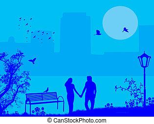 夫妇, 在中, a, 城市公园, 在上, 蓝色