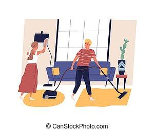 夫妇, 家庭杂务, 真空, 矢量, 每日, 人们, 擦, 国内, 家庭, 妇女, 一起。, dust., 卡通漫画, 家务劳动, 或者, duties., 日常事务, cleanup, 家庭, 地板, 套间, 描述, 摩擦, 人