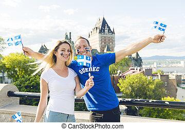 夫妇, 庆祝, the, 国家的假日, 在之前, 别墅frontenac, 在中, 魁北克城市