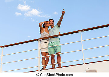 夫妇, 放松, 在户外, 在上, 巡航