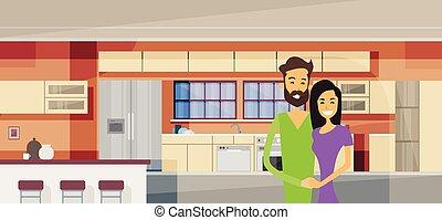 夫妇, 现代, 厨房, 内部, 拥抱