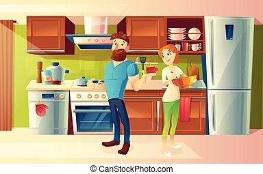 夫妇, 现代, 矢量, 厨房, 卡通漫画, 开心