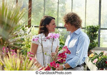 夫妇, 购物中心, 花园