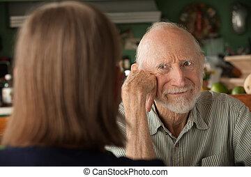 夫妇, 集中, 家, 年长者, 愤怒, 人