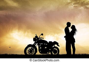 夫婦親吻, 上, 摩托車