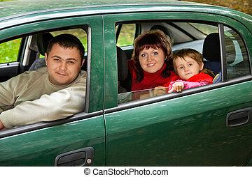 夫婦, そして, 女の子, 座りなさい, 自動車で, パークに
