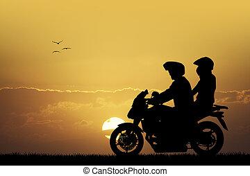 夫婦, 上, 摩托車, 在, 傍晚