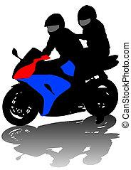 夫婦, 上, 摩托車