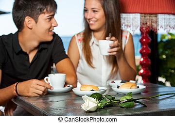 夫婦, 上, 浪漫, 咖啡, date.