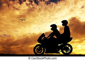 夫婦, 上, a, 摩托車