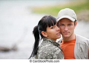 夫婦, 享用, 湖, 天