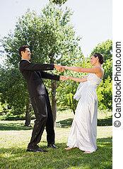 夫婦, 公園, 享用, 結婚, 新近