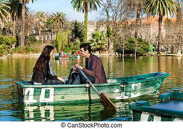 夫婦, 划船, 上, 小, boat.