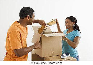 夫婦, 包裝, 一起。