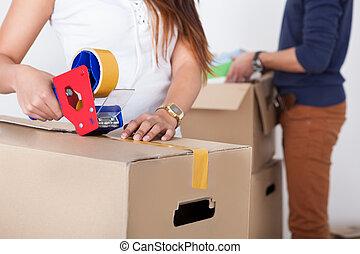 夫婦, 包裝, 厚紙箱