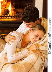 夫婦, 包裹, 在, 毛毯, 在家