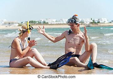 夫婦, 在海, 海灘, 由于, 水下通气管, 集合