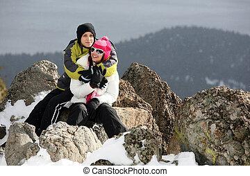 夫婦, 在, 冬天