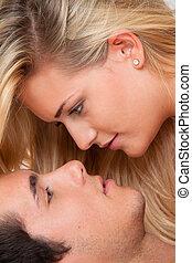 夫婦 在 床, 在期間, 性, 以及, affection., 愛, 以及, e