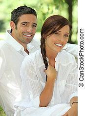 夫婦, 在, 白色, 由于, 匹配, 微笑