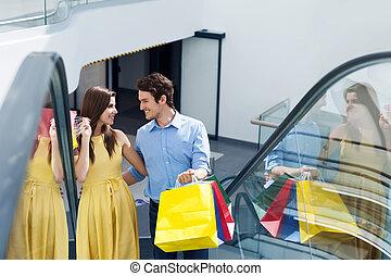 夫婦, 在, 購物中心