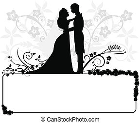 夫婦, 婚禮, 黑色半面畫像