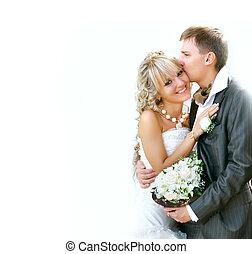 夫婦, 年輕, 天, 婚禮, ther, 愉快