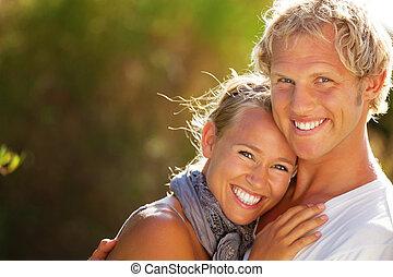 夫婦, 年輕, 愉快