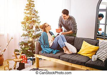 夫婦, 年輕, 慶祝, 歡樂, 圣誕節。, 家, 聖誕節