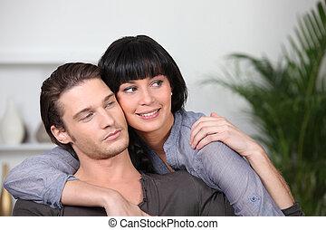 夫婦, 年輕, 擁抱