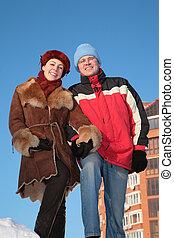 夫婦, 戶外, 在, 冬天
