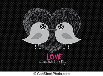 夫婦, 手, w, 婚禮, 畫, 卡通